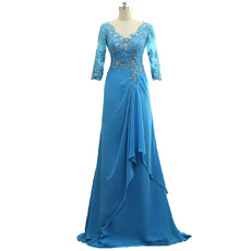 Elegant Floor Length Chiffon Mother Dresses with 3/4 Long Sleeves