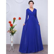 Custom Floor Length Chiffon Mother Wedding Dresses with Long Sleeves