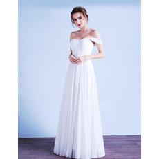 2019 Style Sweetheart Sleeveless Floor Length Chiffon Wedding Dresses