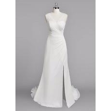 Sexy Sheath V-Neck Sleeveless Floor Length Chiffon Wedding Dresses