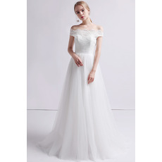 Custom A-Line Off-the-shoulder Floor Length Organza Wedding Dresses