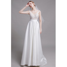 2019 Style A-Line Sleeveless Floor Length Organza Satin Bridal Dresses