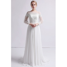 Vintage Long Chiffon Organza Wedding Dresses with Long Sleeves