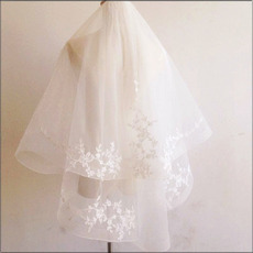 2 Layers Elbow-Length Tulle with Embroidery White Wedding Veils