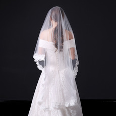 1 Layer Floor-Length Tulle with Lace White Wedding Veils