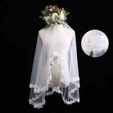 2 Layers Fingertip-Length Tulle with Lace White Wedding Veils