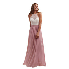 Custom A-Line Halter Floor Length Chiffon Lace Bridesmaid Dresses