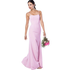Discount Spaghetti Straps Floor Length Satin Bridesmaid Dresses