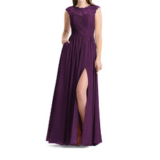 Elegant Sleeveless Floor Length Lace Chiffon Bridesmaid Dress with Slit