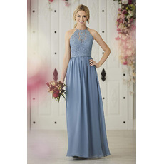 Elegant A-Line Halter Floor Length Lace Chiffon Bridesmaid Dresses