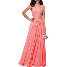 2020 Style Spaghetti Straps Floor Length Chiffon Bridesmaid Dresses