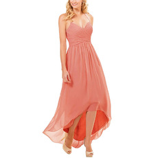 Affordable Halter Sweetheart High-Low Long Chiffon Bridesmaid Dresses