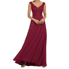 2020 A-Line V-Neck Floor Length Chiffon Embroidery Bridesmaid Dresses