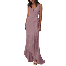 Custom V-Neck Spaghetti Straps High-Low Chiffon Bridesmaid Dresses