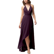Discount V-Neck Spaghetti Straps High-Low Chiffon Bridesmaid Dresses