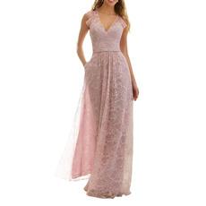 Elegant Lace V-Neck Floor Length Bridesmaid/ Evening/ Prom Dresses