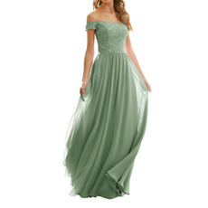 2020 Style Off-the-shoulder Long Chiffon Lace Bridesmaid Dresses