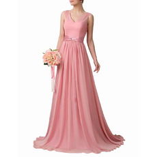 Custom V-Neck Floor Length Chiffon Bridesmaid Dresses with Sashes