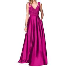 Discount A-Line V-Neck Floor Length Satin Applique Bridesmaid Dresses
