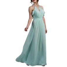 2020 New Halter Floor Length Chiffon Backless Bridesmaid Dresses