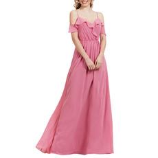 Custom Spaghetti Straps Long Chiffon Bridesmaid/ Evening Dresses