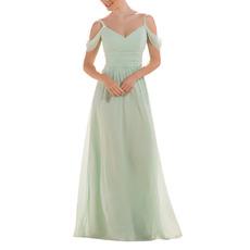 Elegant Spaghetti Straps Floor Length Chiffon Bridesmaid Dresses