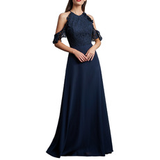 2020 Cold Shoulder Floor Length Chiffon Lace Bridesmaid Dresses