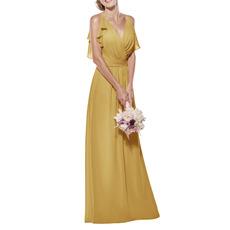 Custom Spaghetti Straps V-Neck Long Chiffon Bridesmaid Dresses