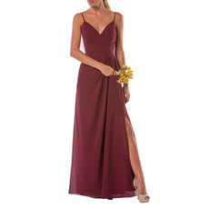 Affordable Spaghetti Straps Long Chiffon Bridesmaid Dress with Slit