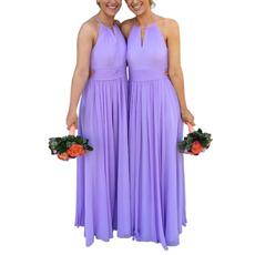 Elegant Halter Floor Length Chiffon Bridesmaid/ Evening Dresses