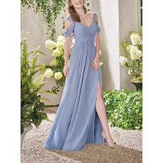 2020 Style Straps Floor Length Chiffon Bridesmaid/ Evening Dresses