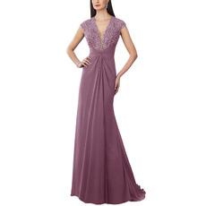 Custom V-Neck Floor Length Chiffon Bridesmaid/ Evening Dresses