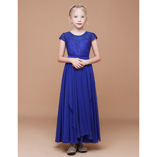 Adorable A-Line Short Sleeves Ankle Length Chiffon Flower Girl Dresses
