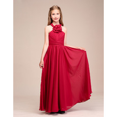 Custom Long Chiffon Flower Girl Dresses/ Junior Bridesmaid Dresses