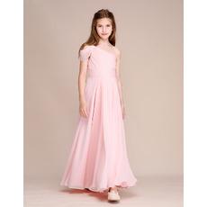 Custom One Shoulder Chiffon Flower Girl/ Junior Bridesmaid Dresses
