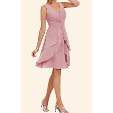 Custom A-Line V-Neck Short Chiffon Layered Skirt Homecoming Dresses