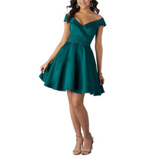 Inexpensive Off-the-shoulder V-Neck Short Satin Homecoming Dresses