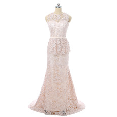 Elegant A-Line Sleeveless Floor Length Lace Mother Dresses with Belts