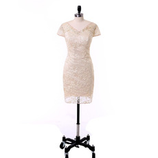 Custom Column V-Neck Short Lace Mother Dresses with Short Sleeves