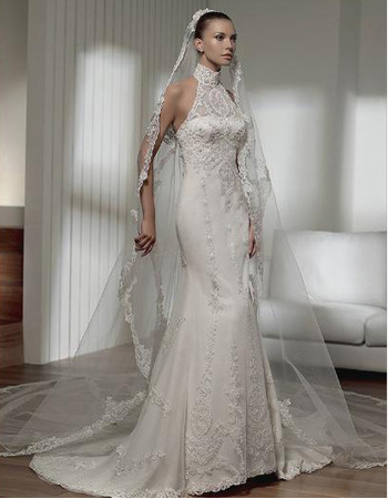 Mermaid High Neck Chapel Train Satin Lace Taffeta Organza Wedding Dress - US$ 222.99 | eBuyWedding.com