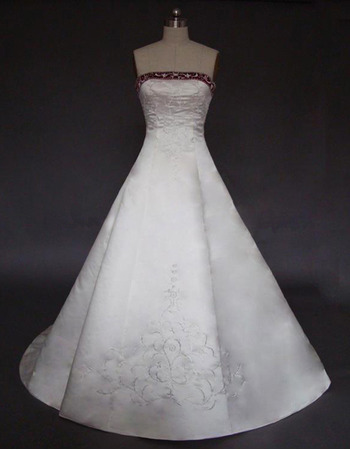 Fashionable and Elegant A-Line Strapless Court train Satin Embroider Beading Dress for Bride