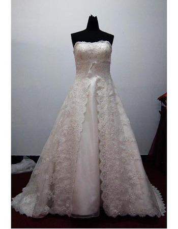 Fashionable and Elegant Exquisite A-Line Strapless Court train Satin Lace Beading Dress for Bride