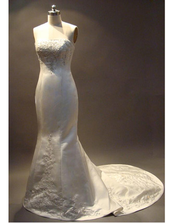 New Style Popular Elegant Exquisite Mermaid Strapless Chapel Satin Embroider Beading Dress for Bride/Bridal Gown