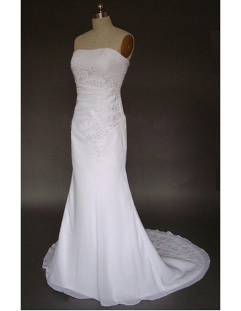 Simple but Elegant Exquisite Mermaid Strapless Court train Satin Chiffon Lace Dress for Bride/Bridal Gown