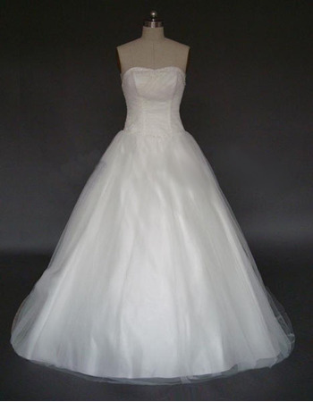 Stunning Elegant Chic A-Line Strapless Chapel Satin Tulle Beading Dress for Bride/Bridal Gown