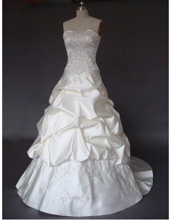 New Style Stunning Elegant Chic A-Line Strapless Court train Satin Embroider Beading Drape Dress for Bride/Bridal Gown