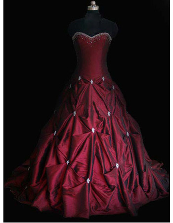 New Style Stunning Elegant and Popular Ball-Gown Sweetheart Court train Satin Taffeta Beading Drape Dress for Bride/Bridal Gown