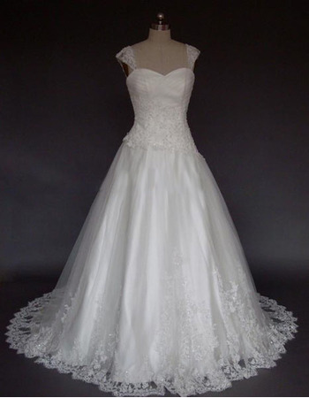 New Style Stunning Elegant and Popular A-Line Sweetheart Shoulder-Strap Court train Satin Lace Beading Dress for Bride/Bridal Go