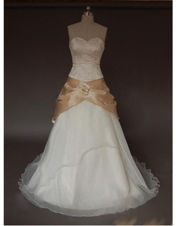 New Style Ladylike Elegant and Popular A-Line Sweetheart Court train Satin Organza Beading Dress for Bride/Bridal Gown