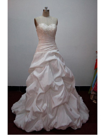 New Style Elegant and Popular Ball-Gown Sweetheart Court train Satin Taffeta Lace Beading Drape Dress for Bride/Bridal Gown